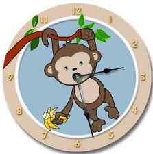 Wall Clock MOD MONKEY Nursery Art Baby Toddler Girl Custom Room Decor