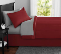 New 8 Piece Red Queen Size Comforter Set Bedspread Bed in a Bag Bedding Sheets