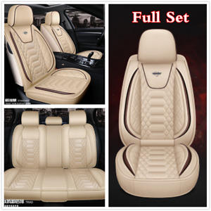 Full Set Car Seat Cover Beige Luxury Leather Rhombus Plaid Auto Chair Cushions