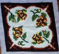 Vintage 70s Finished Handmade Needlepoint Tapestry Floral Fabric Flowers