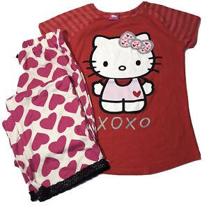 EUC Bundle Of 2 Hello Kitty Top & Emme Jordan Hearts PJ Bottom