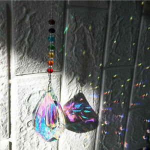 Sun Catcher Colorful Rainbow Prism Feng Shui Mobile Wind Chime Hanging Crystal