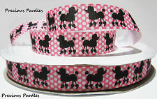 BLACK POODLES on GROSGRAIN RIBBON 22mm By The Yard #