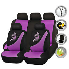 Butterfly Car Seat Covers Set Universal Embroidery Breathable Purple lady