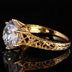 AAA Graded Cubic Zirconia Ring 14K Real Yellow Gold Antique Wedding Bridal Ring