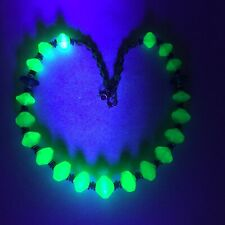 "Vintage Vaseline Uranium Glass Bead Necklace 20"""