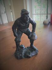 Baseball Catcher Statue, Paolo Testi, Antique Galvano Bronze Player Figurine