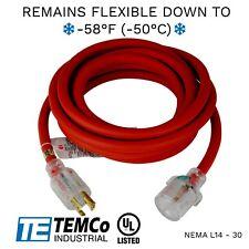 Temco 20ft Cold Weather Generator Cord Red Nema L14 30 125250v 30a Ul