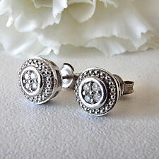 New 925 Sterling Silver 1/10 Ctw Diamond Round Earrings I Color I2 Clarity Post