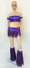 Da NeeNa T016 Dance Sexy Pom Poms Cheerleader Sequin Costume Set