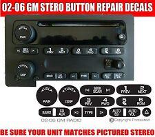 GM Radio Button Repair Decal Sticker Kit Dash 2002-2006 fits GM Chevy