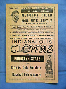 1964 Indianapolis Clowns vs. Brooklyn Stars Frederick Md 4 Page Advertisement