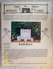 Mary Garry's Sewing Cabin Baseball Cross Stitch Design Pattern OOP 1994 SALE