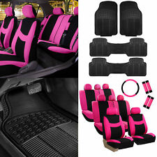 3 Row 8 Seater Pink Seat Covers for SUV Van Accesory Combo w/ Black Floor Mats