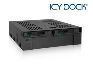 """New ICY Dock ExpressCage MB322SP-B 2 Bay 2.5"""" SAS SATA SSD HDD Mobile Rack"""