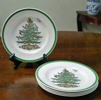 """Set of 5 Spode Christmas Tree S3324 8"""" Salad Plates NWT"""