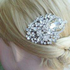 Unique Clear Austrian Crystal Flower Hair Comb Bridal Wedding Headpiece 05844C1