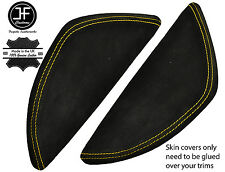 YELLOW STITCH 2X  DASH END SIDE TRIM SUEDE COVERS FITS VW T5 TRANSPORTER 03-11