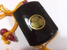 Samurai Inro Japanese traditional pill box Netsuke Mitsuba aoi Tokugawa orange