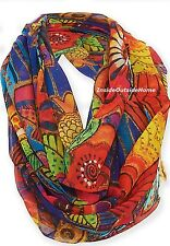 Laurel Burch Infinity Neck Scarf Fish Waves Multi-Color NEW