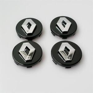 4x60mm RENAULT Black Wheel Center Caps Logo Emblem Badge Hubcaps Rim Caps