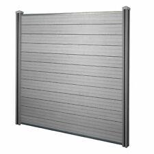WPC-Sichtschutz Savoie, Windschutz Zaun, WPC-Pfosten Basiselement, 1,95m grau