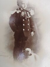 Antique Signed Cabinet Card photo Boy & his dog smooth fox terrier Pointer *