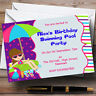 Purple Pink Swimming Pool Beach Theme Personalised Birthday Party Invitations