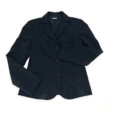Benetton Black Blazer Jacket Career Work Classic Made In Italy Size 42