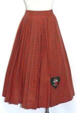 RED GREEN Plaid ~ COTTON Women German LONG Summer PLEATED Swing Dress SKIRT 8 S