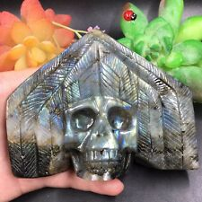 TOP-359g Natural Labradorite Skull Hand Carved Sculpture Healing Reiki B2576