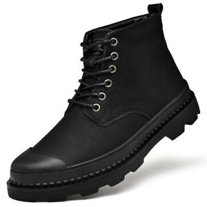 Mens Casual Round Toe Lace Up Ankle Boots Outdoor Army Combat Shoes