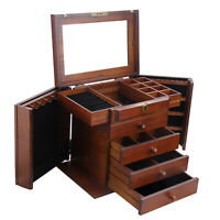 Large Wooden Jewellery Box Rings Necklace Earring Storage Cabinet Organiser Case