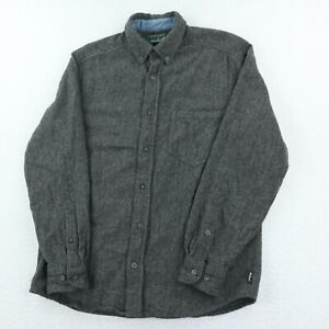 Woolrich Wool Button Down Flannel Shirt Mens M Gray Pocket Collar Outdoor Work