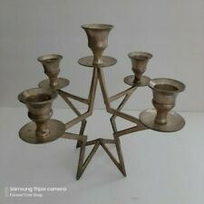 Vintage Silver Plated Candelabra Candle Holder 5 Arm Candlesticks Star Base