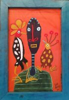 "John Sperry Outsider Southern Brut Folk Art Bird Man Painting ""Bird Whispers"""