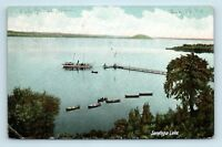 Saratoga Springs, NY - PRE 1908 VIEW OF SARATOGA LAKE & BOAT POSTCARD - H1
