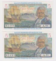 Saint Pierre & Miquelon 5 Francs 1950 - 1960 ND P22 GEM UNC PAIR Rare Currency