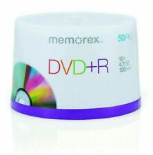 50 X Memorex DVD+R Discs - Spindle Pack of 50 Recordable Single Write Blank DVD