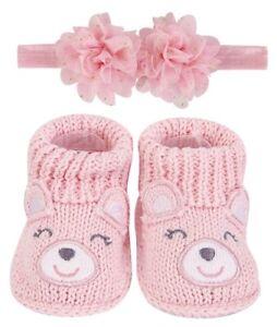 Handgemachte Baby Schuhe, Mädchen - Bärchen rosa