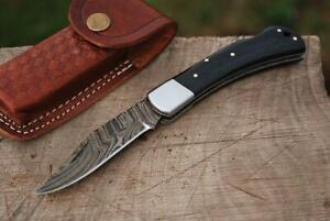 Damast Taschenmesser,  Damascus Folding Knife #77T