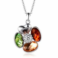 Women's Fashion Clover Flower Necklace White Gold Plated Green Red and Yellow CZ