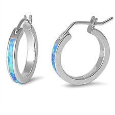 Blue Fire Opal Inlay Half Eternity Genuine Sterling Silver Hoop Huggie Earrings