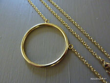 Very fine necklace for woman or girl with Ring Pendant shaped round circle 18KT