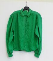 Vintage Green 100% Silk approx 14  Button Up Shirt Blouse Top Made In India