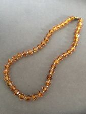 VINTAGE AMBER COLOUR FACETED GLASS NECKLACE WITH GOLD BEAD SEPARATORS