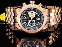 Invicta Men FLIGHT AVIATOR Chronograph Black Dial Rose Gold TACHYMETER SS Watch