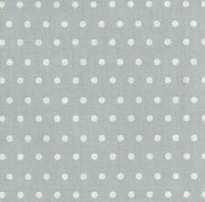 Stoff Baumwolle Leona beschichtet Wachstuch hellgrau, weiße Punkte 6mm