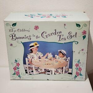 23 Piece Children's Bunnies in the Garden Tea Set New Open Box TEA SET 23 Pieces