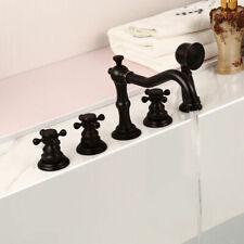 Antique Black 3 Cross Handles Roman Tub Faucet 5 Holes Deck Mount Bath Tap Brass